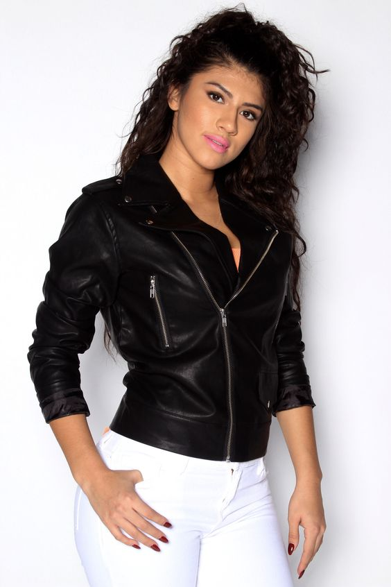 - Leather Jacket - Silver Hardware Detail For Zipper - Exposed Zipper Pockets…