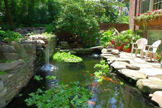 Koi Teich Garten Steine Fische Pflanzen Pflegetipps Ideen Teich - gartenteich mit brucke und bachlauf