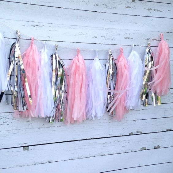 You will receive a tissue tassel garland kit with 15 tassels for assembling a 6 ft. long garland. Kit includes pink, white and metallic silver