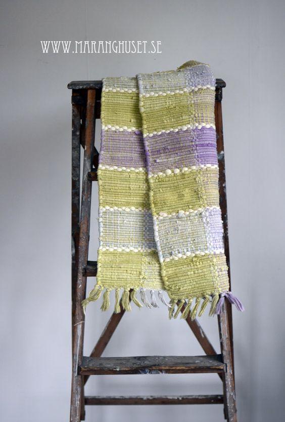 Love Swedish Rag Rugs! Trine - 50 cm wide 75 cm long- A little Vintage Rag Rug - Hand Woven rug in fresh green and purple - multi colored warp