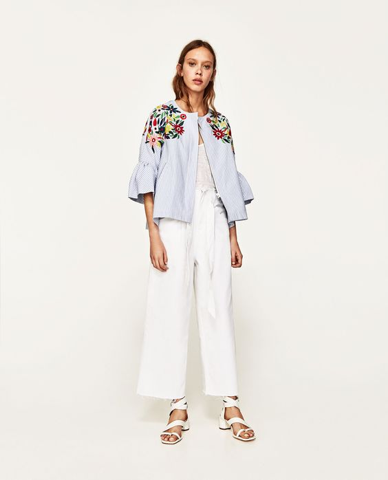 ZARA - WOMAN - JACKET WITH FLORAL EMBROIDERY