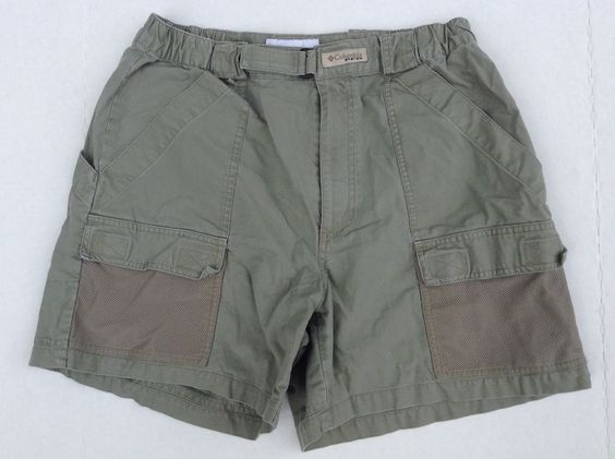 MENS COLUMBIA PFG PERFORMANCE FISHING GEAR CARGO KHAKI SHORTS SIZE ...