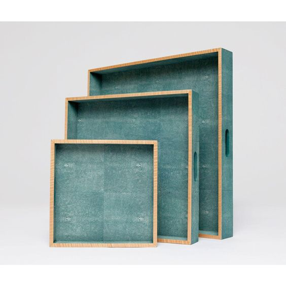 these faux shagreen trays with wood trim bring function and a pop of color to your favorite living area