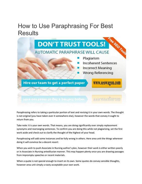Online paraphrasing tools - Best plagiarism checker