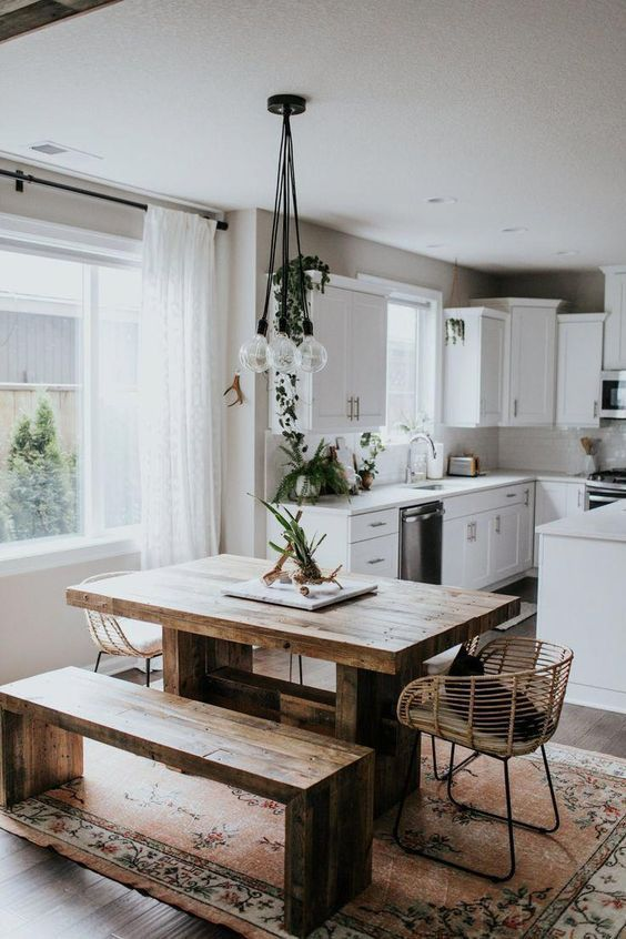 This Is Another Bohemian Style Kitchen Decor Idea That Is Filled Completely With Various Colors An Home Decor Kitchen Farmhouse Dining Room Kitchen Dining Room