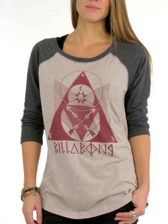 Heavenly You 3/4 Sleeve Raglan T-Shirt for women by Billabong. 50% polyester, 37% cotton, 13% rayon. Model is wearing a size medium.
