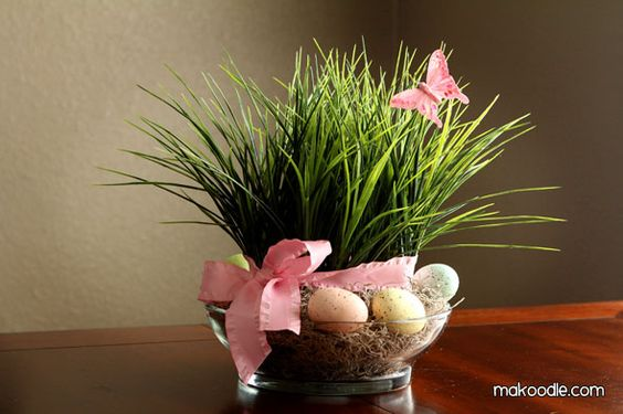 Easter grass centrepiece
