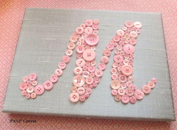 baby girl nursery wall art, kids wall art, button art, pink button