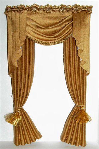 Dollhouse Miniature Gold Silk Victorian Curtains Drapes