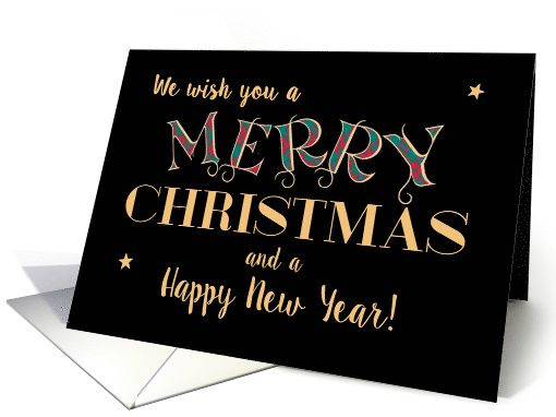 Merry Christmas Happy New Year Tartan Gold Effect Lettering On Black Card Christmas Card Design Merry Christmas Cards