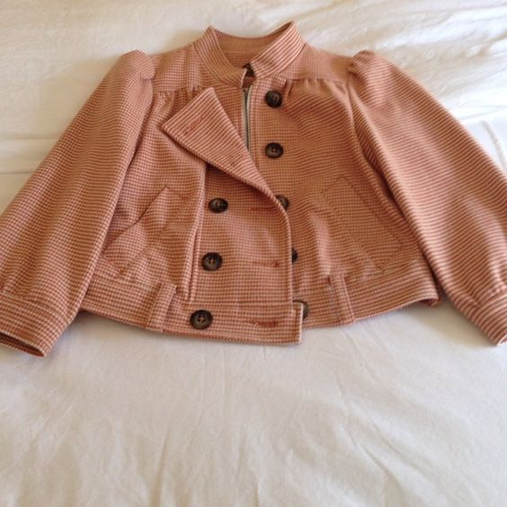 Anthropologie Orange Checkered Jacket Anthropologie jacket - size 4! In amazing condition and so trendy! Short jacket with cropped sleeves. Anthropologie Jackets & Coats