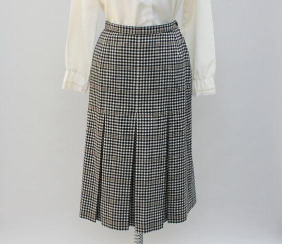 """60er Jahre Vintage Pendleton Wollrock, karierte Plaid, Glocken Form / klein - 26 """"Taille"""