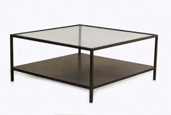 Table basse carrée  1 plateau verre 1plateau tole Sur mesure