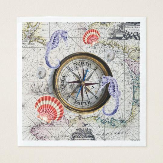 Compass Vintage Map Napkins Zazzle Com Vintage Map Vintage Nautical Vintage Maps