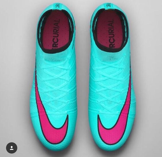 Blue and pink nike soccer cleats