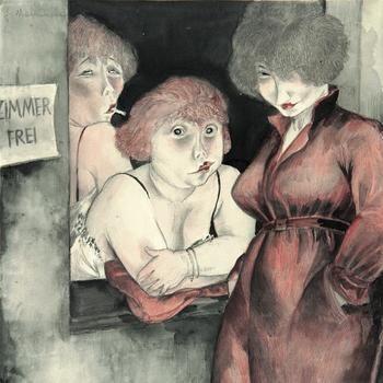 """Die Berliner Malerin Jeanne Mammen schildert trefflich das Warten auf die nächsten Freier: """"Brüderstraße (""""Zimmer frei"""")"""" hier im Ausschnitt. Quelle: Karl"""