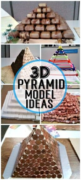 3D Pyramid Model Project Ideas for Kids! #Pyramid Crafts - That first one is made out of McDonald's sandwich boxes, genius!