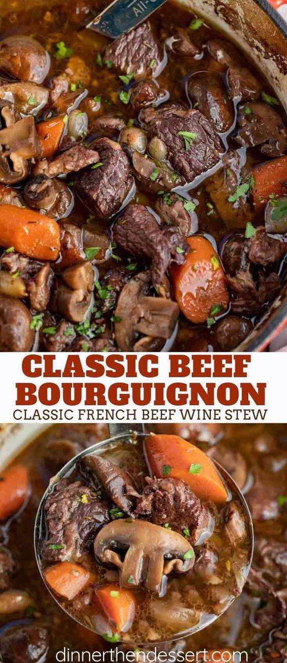 Beef Bourguignon Made With Pearl Onions Carrots Mushrooms Beef And Burgundy Red Wine Is A Classic Comfort Beef Bourguignon Beef Stew Recipe Beef Stew Wine
