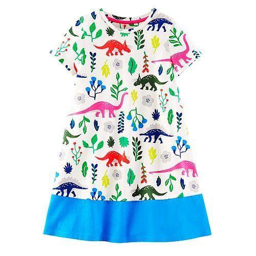 Mini boden baby girl summer dress kids high quality cartoon dress dino parrot!!!
