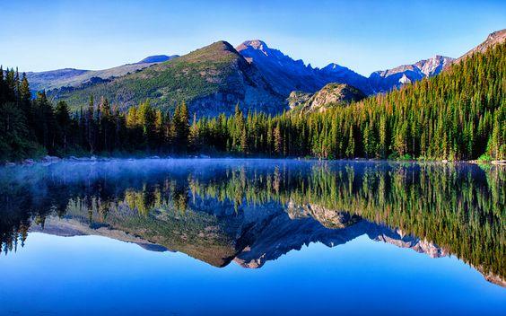 Misty Morning Bear Lake Reflection - Rocky Mountain National Park, Colorado DONE