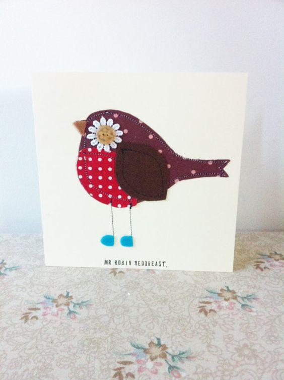 Handmade robin redbreast greetings card bird birthday by SewMice, £3.00