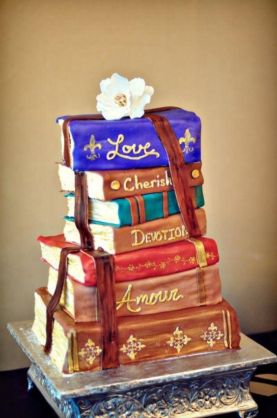 Stacked Book Wedding Cake