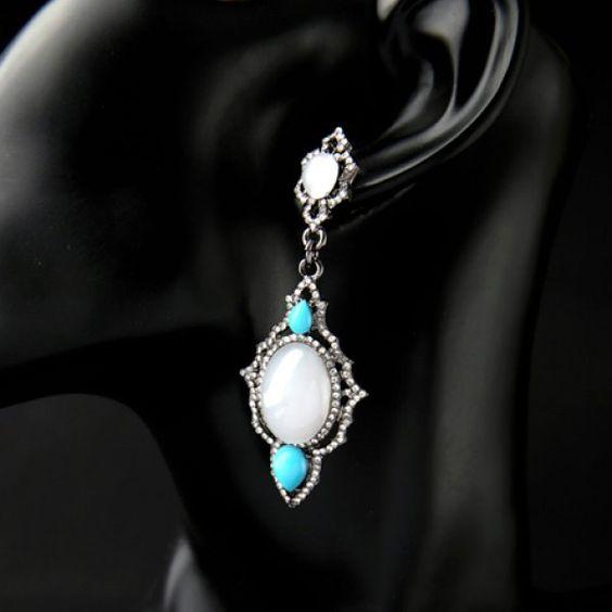 Pair of Gorgeous Rhinestoned Faux Opal Water Drop Earrings For Women
