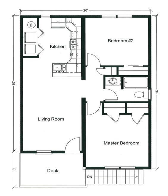 2 bedroom bungalow floor plan plan and two for Layout design of bungalows