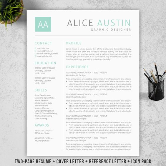 professional resume template cv template mac or pc for word two - Two Page Resume Template