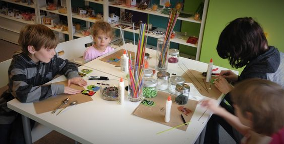 Kids having great fun at our Monster Magnet Workshop!  These glass fridge magnets look so cool!