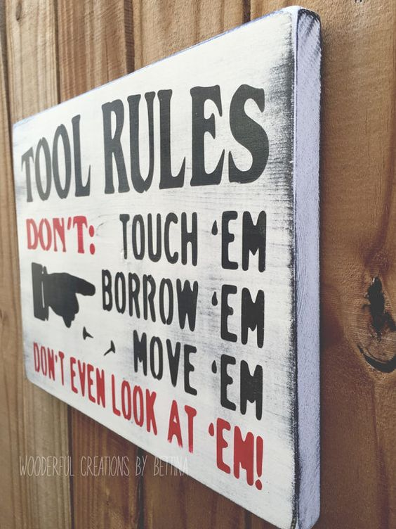 Tool Rules Rustic Wooden Sign Garage Sign Rules by WCbyBettina