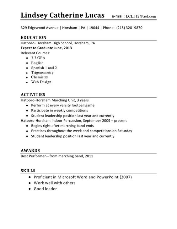 High School Student Resume Examples For Jobs Resume Builder -   - resume examples high school students