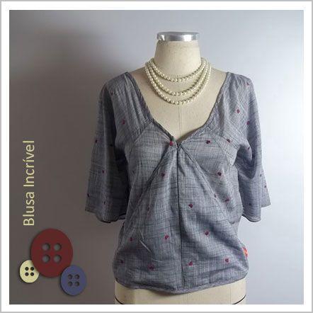 Blusa Incrível (Coração) - Café Costura de R$106 por R$70