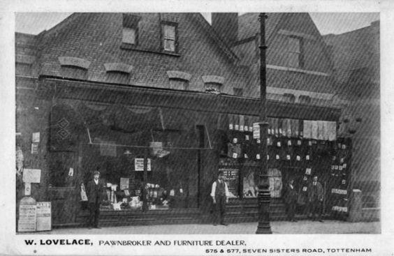 Postcard W Lovelace Pawnbroker Furniture Dealer Tottenham Tottenham Islington London