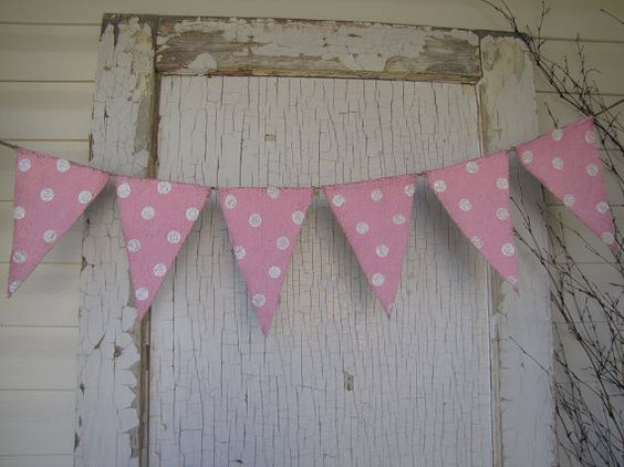 Cotton Candy Painted Burlap Banner with Glitter by funkyshique