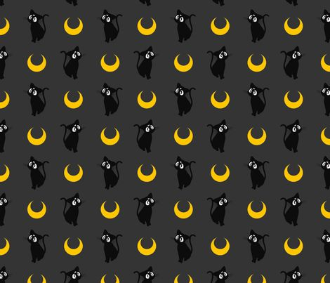 Luna sailor moon fabric by castl3t0n on spoonflower for Moon pattern fabric