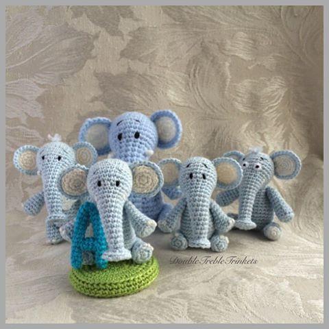 Yay!! 5 elephants already! Just 1 more to go  #crochet #elephant #amigurumi #miniature #parade #family #present #caketopper #keepsake #crochetelephant #baby
