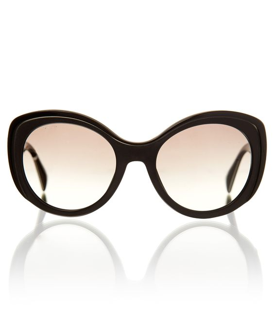 PRADA SUNGLASSES BLACK OVERSIZED CURVY CAT EYE SUNGLASSES  £215.00