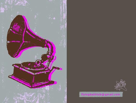 gramophone card by: flying bathtub designs