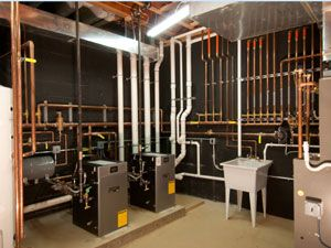 Mechanical room heating and cooling radiant heat for Room heating system