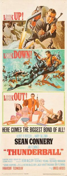 James Bond Thunderball insert movie poster. Art by Robert McGinnis and Frank McCarthy.