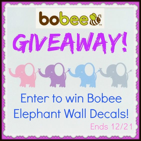 Low entry #giveaway! Become a #BobeeFan and enter to #win these adorable elephant wall decals! Ends December 21 (10:00pm EST).