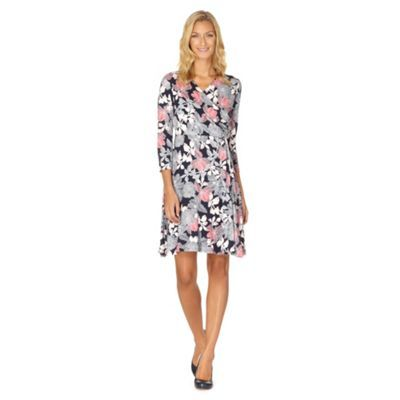 Maine New England Navy outline floral print jersey dress- at Debenhams.com