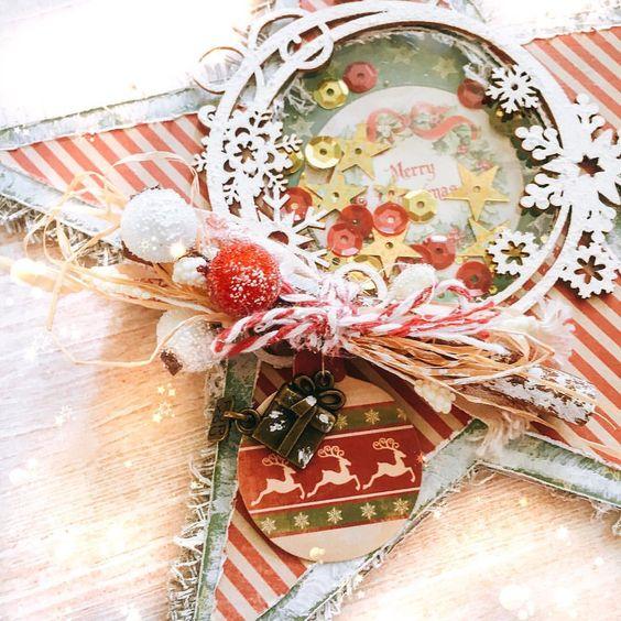 ✨⭐️Новогодняя звездочка-шейкер⭐️✨ Размер ~ 20х19 см Украшена палочкой корицы, чипбордом от @artmarket_tlt, металлической подвеской и ягодками. 🎄Стоимость: 300 руб🎄 #новыйгод #новогодняяоткрытка #открытка #новыйгод2019 #подарокнановыйгод #christmas #винтажнаяоткрытка #скрап #открыткаручнойработы #новогоднийподарок #открыткашейкер #merrychristmas #рождество #vintage #скрапмир #scrapmir
