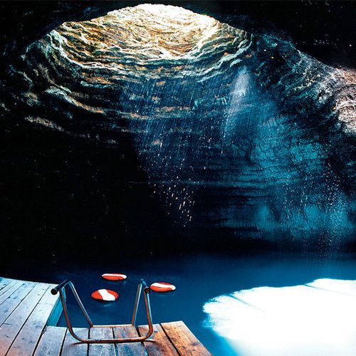 the crater (in a limsetone cave ) at homestead resort in utah. geothermal spring.