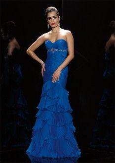Amazing Brilliant Royal Blue Satin Sweetheart Beading  Cascading Ruffle Party Dresses Full Length  Column