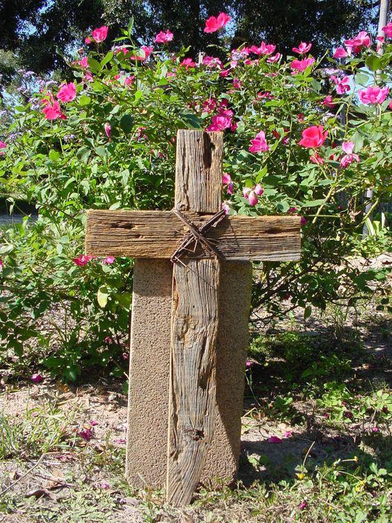 Rustic wood cross for indoors outdoors weddings prayer for Prayer garden designs