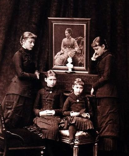 The four daughters of Princess Alice in mourning, 1879.