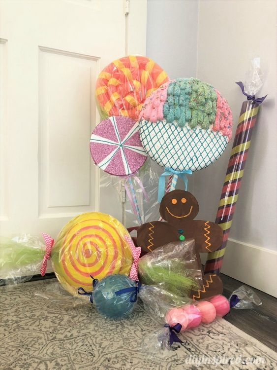 5 Ways To Make Giant Candy For A Candyland Theme Candy Decorations Diy Candy Themed Party Candy Land Christmas