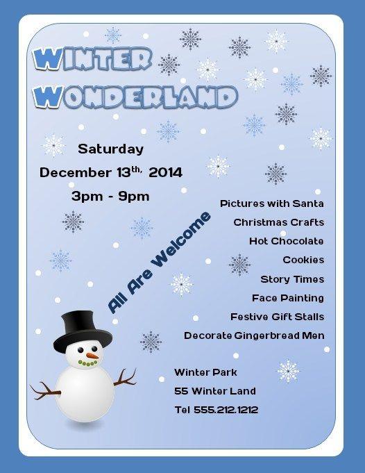 Free Winter Wonderland Microsoft Word Flyer Template